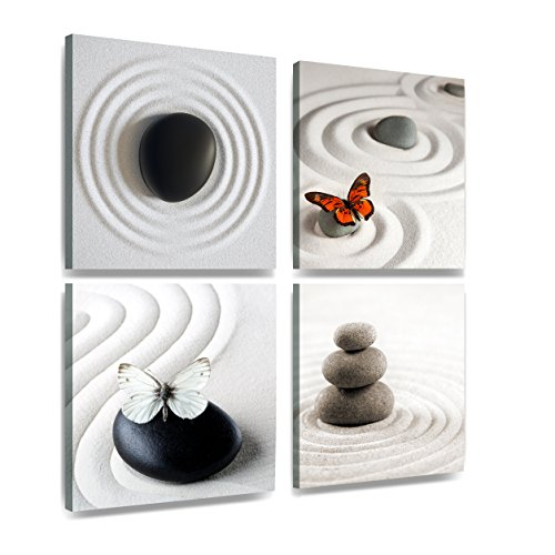 XXL 4er lienzo mariposa Zen piedra arena 30 x 30 cm