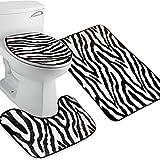 Nuolux Bademattenset, 3-teilig, Zebramuster, WC-Deckelbezug, WC-Matte, Badematten Set (Zebrastreifen)