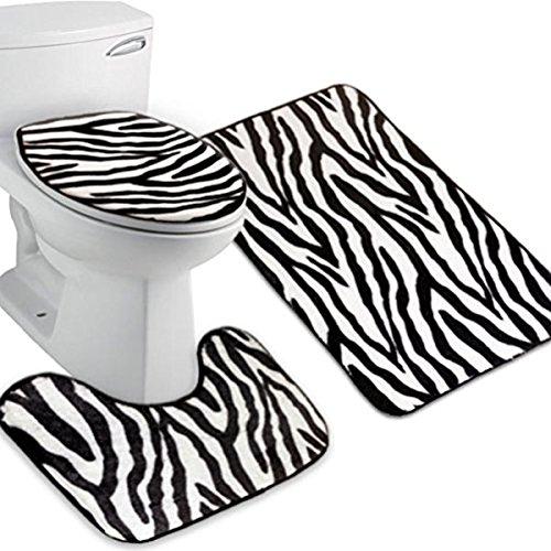 WINOMO Zebra Flanell Deckel WC Deckel Sockel Teppich Bad Matte Set 3pcs (Zebra-Streifen)