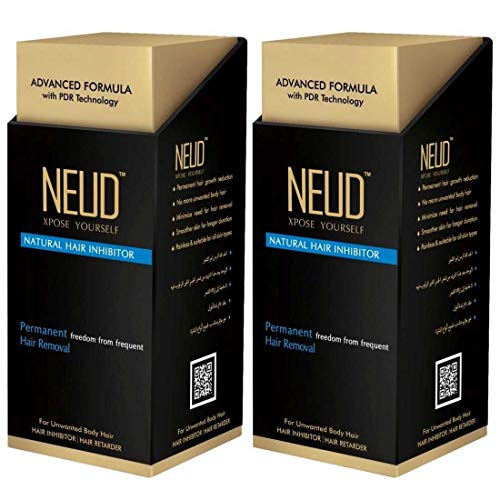 NEUD Permanent Hair Reduction for Unwanted Body and Facial Hair Pack of 2 (80g Each)