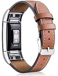 Mornex Fitbit Charge 2 Bracelet en Cuir,Bande de Remplacement Regable Sangle Rechange avec Metal Connecteurs Accessoires pour Fitbit Charge 2