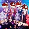 #7: 8 Piezas de Sombrero de Navidad Gorra de Terciopelo de LED Luz Sombrero de Patrón de Papá Noel Reno Monigote de Nieve Oso Favores de Fiesta para Adultos y Niños (Talla de Adulto y Niño)