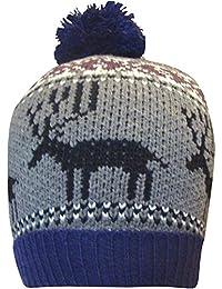 Men's Chunky Thermal Knit Festive Reindeer Design Knitted Bobble Hat