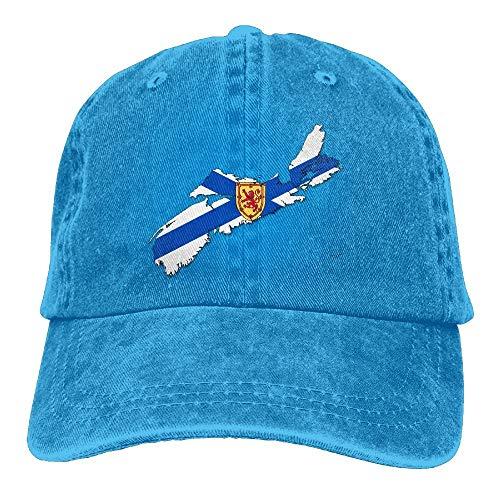 Sdltkhy Unisex Erwachsene Flag Map von Nova Scotia Washed Denim Baumwolle Sport Outdoor Baseball Cap Einstellbar One Size Ash Fashion11