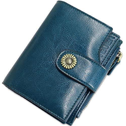 en Viele Fächer Kleine Damen Portemonnaie mit Reißverschluss, RFID Schutz Damengeldbeutel Leder mit Münzfach und 12 Kartenfächer Portmonee Frauen Brieftasche Klein (Blau2) ()