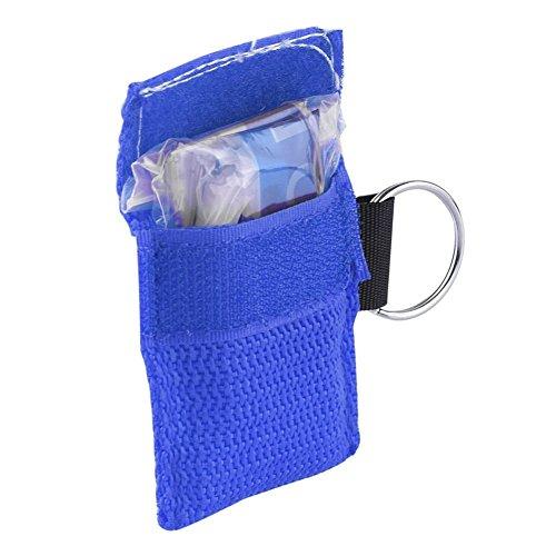 Minkoll Schlüsselanhänger Tasche, CPR Gesichtsmaske Schild Einwegventil für Erste-Hilfe-Training (blau) (Cpr-maske Ein Ventil)