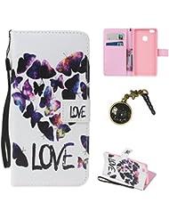 PU pour Huawei P9 Lite Coque Bookstyle Étui Fleur Housse en Cuir Case à rabat pour Huawei P9 Lite Coque de protection Portefeuille TPU Case Cover (+Bouchons de poussière) (8)