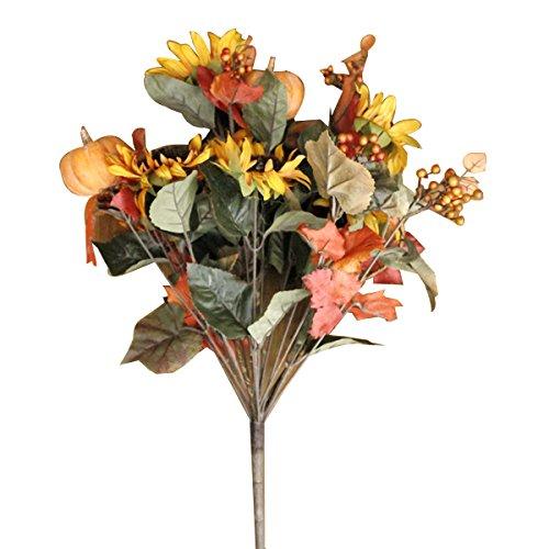 VORCOOL Kürbis Sonnenblume Berry Künstliche Blume Blumenstrauß Blume Bundle für Halloween Home Office Garten Terrasse Dekoration (Berry Kürbis)