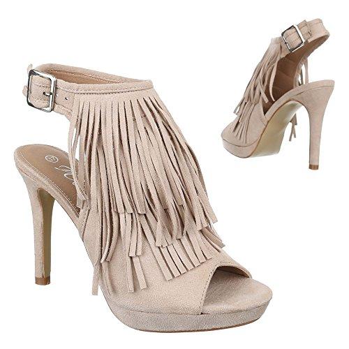 Ital-Design , chaussures compensées femme Beige - Beige