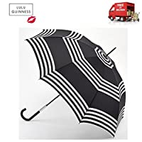 Lulu Guinness Black & White Stripes Eliza Walking Umbrella Crook Handle