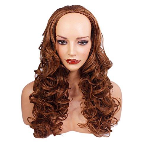 56 cm - Perruque 3/4 pour femmes mi-automne - Bouclés - Brun châtaignier - Fibre synthétique de haute qualité résistant à la chaleur - Pince à cheveux - 250g - Ressemble à de vrais cheveux par Elegant Hair
