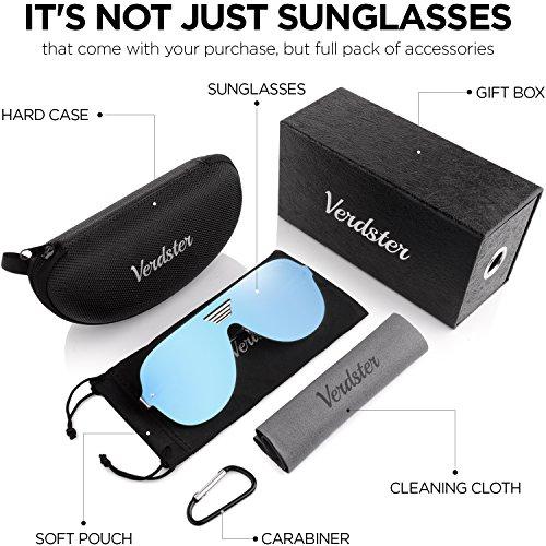 Verdster Gafas De Sol De Aviador Hombre TourDePro – Aptos para Conducir – Montura Cómoda con Protección UV – Incluye un estuche,  funda y un pañuelo (Adultos/Grandes,  Azul/Oro)