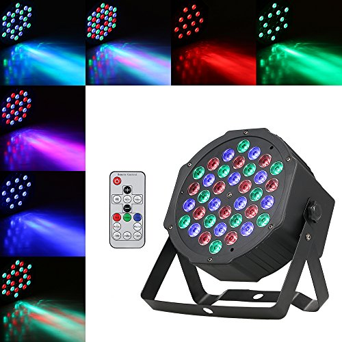 Lilideni 36 LED RGB Kunststoff Mini Flat Bühne Par Licht Lampe Ligting Fixture Unterstützung DMX512 Sound aktiviert Auto Run Fernbedienung 7/4 Kanäle für Bar Club Disco DJ Show Home Party - Flat Led Rgb