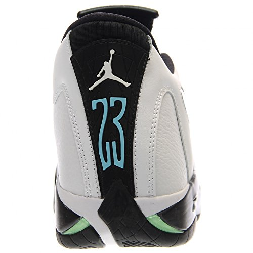 Nike Air Jordan 14 Retro, Chaussures de Sport-Basketball Homme white/black-oxdzd grn-lgnd bl
