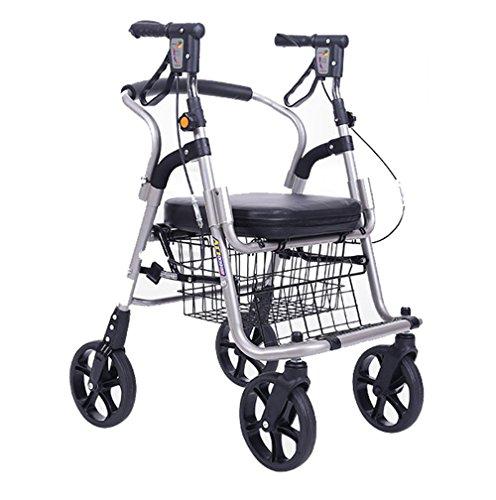 Andador de acero inoxidable plata Colores Walker plegable con ruedas (4ruedas–Andador (con asiento y cesta