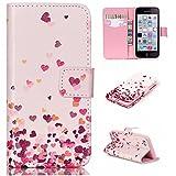 Igrelem Étui portefeuille en cuir synthétique pour Apple iPhone 5C Motif coloré pissenlit, cœur, rose, papillon, Cuir synthétique Cuir, Love Heart #2, Pink, iPhone 5C