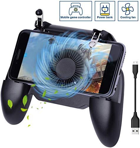 HEYSTOP PUBG Mobile Game Controller,Tragbares Gamepad löst mit Lüfter und Integriertem 4000-mAh-Akku Bank Handyspiel-Auslöser Sensitive Schieß- und Zieltasten für Android & IOS