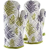 Amazon Brand - Solimo 100% Cotton Padded Oven Gloves, Fern (Pack of 2, White)