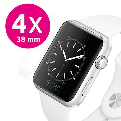 Apple Watch 38mm Schutzfolie Panzer Folie [4 Stück] volle Abdeckung [HD-Klar] einfache blasenfreie Aufbringung [38 mm Series 3/2/1] wasserabweisend schmutzabweisend [kein Vergilben & Ablösen]