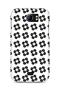 Amez designer printed 3d premium high quality back case cover for Micromax Canvas 2 A110 (Black n White Pattern8)