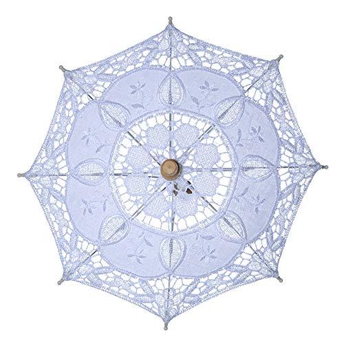 X-DAAO Vintage Braut-Spitzenschirm für Frauen Sonnenschirm Sonnenschirm Dekoration für Hochzeit Party - White S