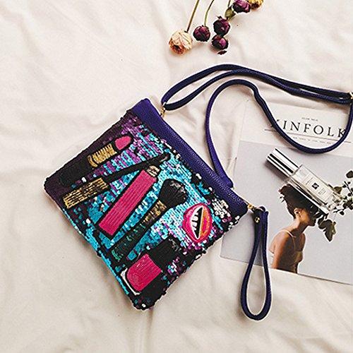AiSi Damen Pailletten Glitzer modern Clutch Handtasche Damenhandtaschen Abendtasche Umhängetasche Party-Bag mit PU Leder Schulterriemen Handschlaufe Schwarz Blau