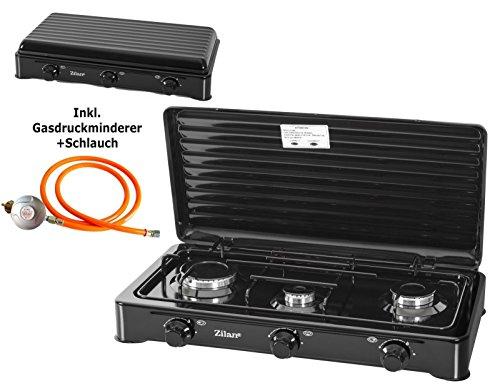 Gaskocher inklusiv Druckminderer und Schlauch | Campingkocher | Gas Kochfeld | Propangas | Kochfeld | Gasherd | AUSWAHL 1,2,3 oder 4 Flammig | Schwarz (3 Flammig)