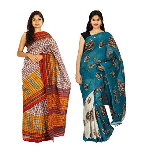 khaja Women's Cotton Multi Colour Checks & Chapa Slik Fashion Sarees Combo Of 2 (ID0001_ID0108)
