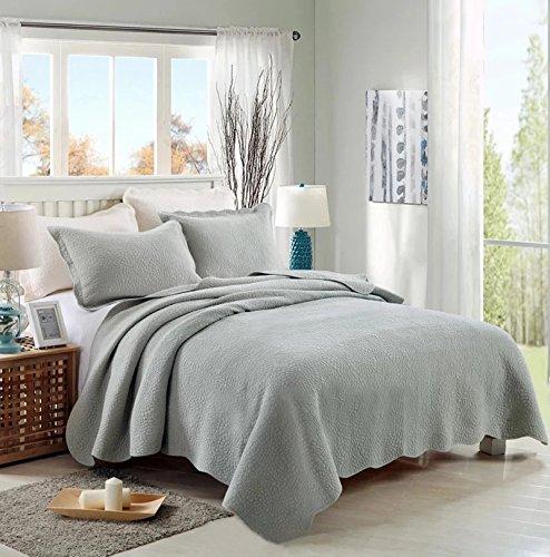 Beddingleer Tagesdecke Patchwork Grau Bettüberwurf Baumwolle Tagesdecken 150 X 200 cm 3-tlg Decke Sofaüberwurf Sofa Couch Kinder Überwurf Decke -
