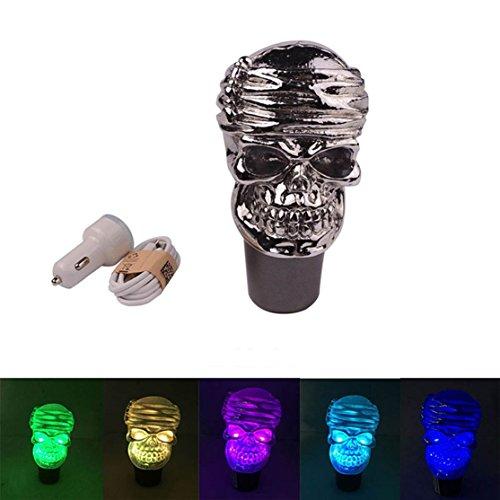 Preisvergleich Produktbild Sport family Cool Schädel Touch aktiviert Multi-color Licht beleuchtet Universal Auto Schaltknauf Schaltkopf für Manuelles oder automatisches Getriebe Ohne Sperrknopf