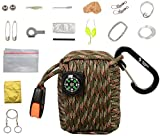 The Friendly Swede Survival-Pod - Survival-Kit inklusive Drahtsäge, Rettungsdecke und Paracord (Armee Grün/Camouflage)