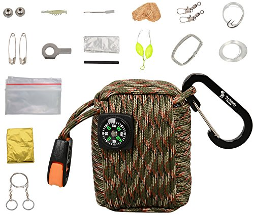 (The Friendly Swede Survival-Pod - Survival-Kit inklusive Drahtsäge, Rettungsdecke und Paracord (Armee Grün/Camouflage))