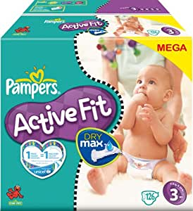 Pampers - 81212864 - Active Fit Couches - Taille 3 Midi (4-9 Kg) - Megapack X126 Couches