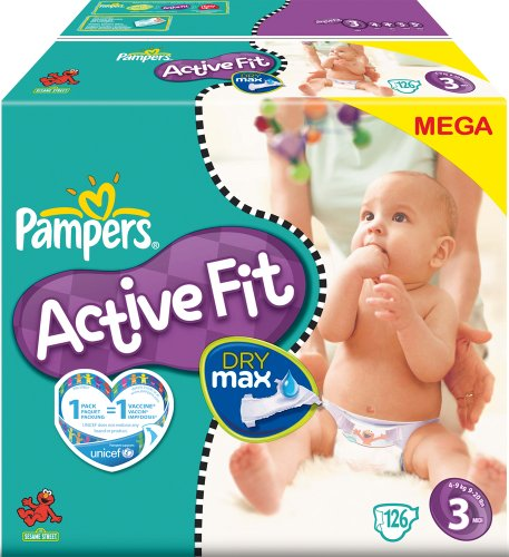 Pampers Windeln Active Fit Gr.3 Midi 4-9 kg Megapack, 126 Stück