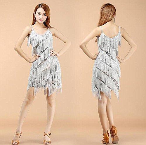 FGDJTYYJ Latin Dance Kleid Kostüm Erwachsenen Kleid Pailletten Quaste Tanz Rock Kostüm Sommerkleid, 2 -