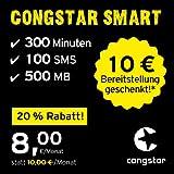 congstar Smart Tarif [SIM, Micro-SIM und Nano-SIM] 24 Monate Laufzeit (8,00 Euro/Monat, 500 MB Datenflat mit max. 21 Mbit/s, monatlich 300 Minuten und 100 SMS) in bester D-Netz-Qualität preiswert