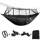ATLES Cómodo – Hamaca 2 Personas Hamaca de alta resistencia tela de paracaídas con mosquitera para Camping, Patio (Negro, 55'' x 102''(140 x 260cm))