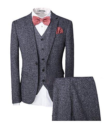 ren ein knopf 3-Teilig Anzug Kariert Design mit Weste +Fliege Hochzeit Party (Die Weste Und Die Fliege)