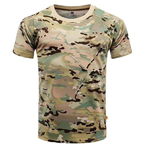 Yuandian uomo camuffare maglietta estate casuale all'aperto maniche corte leggero asciugatura veloce traspirante tattico militare camo top shirt cp xl