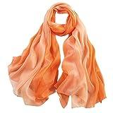 Honeystore 2017 Neuheit Fashion 100% Seide Farbverläufen Schal für Damen, 180*110 CM Orange