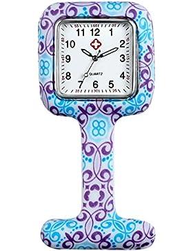 lancardo Taschenuhr für Health Care Arbeiter, Krankenschwestern und Ärzte in weiß Silikon hygienischer Schutz...