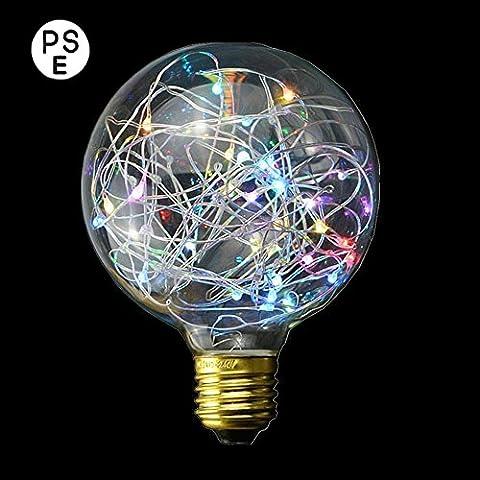 Xinrong Ampoule décorative LED Motif ciel étoilé Filaments Edison en cuivre Culot E27220V 3W Économie d'énergie Style vintage Pour décoration intérieure, fêtes de Noël, suspension , Multi Flash, E27 3.0 wattsW 220.0 voltsV