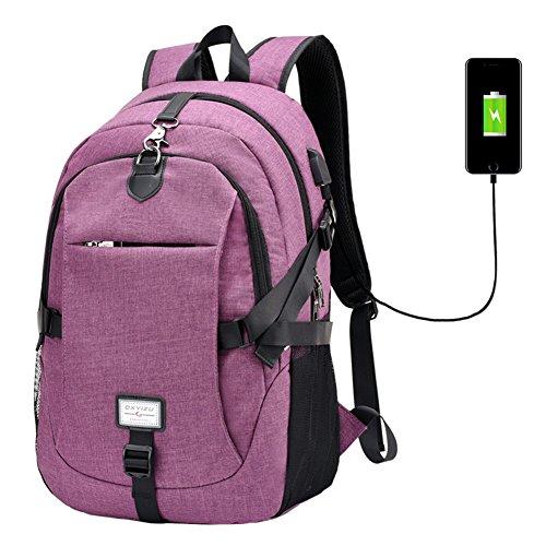 l Laptop Rucksack Computer Tasche mit USB Ladeanschluss Schultasche violett violett free size (Teen Violet)