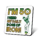 cs60550'Ich muss Tagesdosis aus Eisen, Neuheit Funny Tee trinken Geschenk, glänzende MDF Holz-Untersetzern