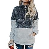 TianWlio Langarmshirt Damen Bluse T-Shirt Tops Mode Frauen Velvet Langarm Reißverschluss Rollkragen Taschen Tops Pullover Bluse