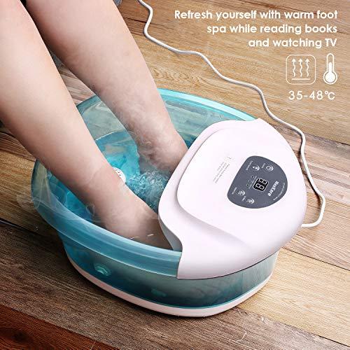 Fußbad Massagegerät Fussbad Elektrisches Fußbadewanne mit Massage & Heizung & Sprudel, 4 Abnehmbaren Massagerollen, Foot Spa Bath Pediküre Linderung Von Fußschmerzen