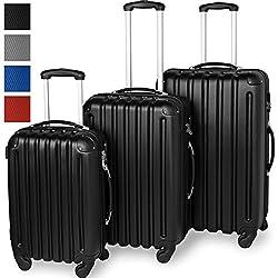 3 ABS Travel Case Set, Hard Case, Ultralight, 360 ° Rolling System, 4 Castors, Aluminum Telescopic Pole, Black