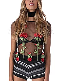 ISASSY Women's Casual Floral Embroidered T-Shirt Mesh Sheer See Through T shirt Crop Top Blouse Black