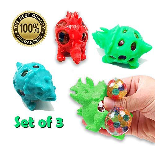 FD Goods LTD Set von 3 - Dinosaurier Antistress Sensorisches Spielzeug für Kinder - Baut Stress ab. Der Schleimige Ball ist EIN Super Geschenk für den Urlaub Zum Geburtstag und Themenpartys - Kinder Für Dinosaurier-spielzeug