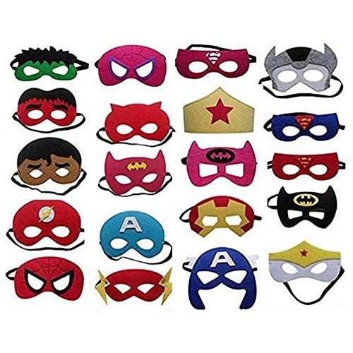 Superheroes Party Masks,20 Pieces Superhero Masks for Kids Children Adults Party Bag Filler Felt Mask with Adjustable… 3